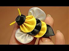 ▶ Пчела Канзаши Мастер класс ൠ DIY Kanzashi bee - YouTube