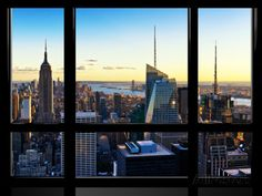 Window View, Skyline at Sunset, Midtown Manhattan, Hudson River, New York Photographic Print by Philippe Hugonnard at AllPosters.com