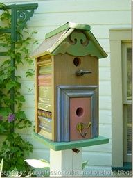 Birdhouse, notice the sides made out of scrap molding or trim pieces.