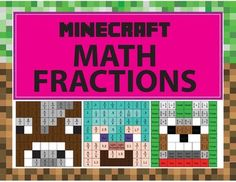 Students love Minecraft and one way to encourage their love for math is to make… Minecraft Classroom, Minecraft Activities, Minecraft School, Math Classroom, Classroom Themes, Maths, Homeschool Worksheets, Fractions Worksheets, Homeschooling
