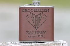 Personalized Groomsmen Engraved Tuxedo Leather Flask  Customize for Father of Bride or Groom,  Best Man