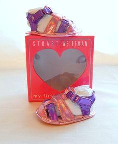 Stuart Weitzman Infant Baby Girl Sz.2 Pink Purple Slip-On Metallic Sandal #StuartWeitzman #Sandals #baby #pink #littlegirl #stylish