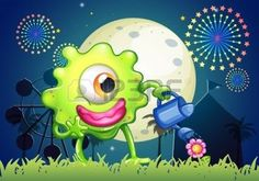 feu d artifice FLEUR: Illustration d'un monstre arroser la plante au carnaval Illustration