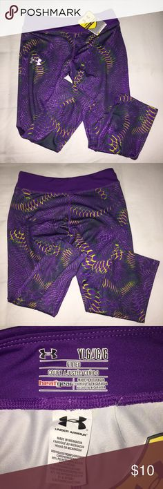 NEW Under Armour Leggings These leggings are super comfy and have a cool PURPLE and green design on the front. Wear to feel cool, dry, and light. Size Youth Large. Smoke free home Under Armour Pants Track Pants & Joggers