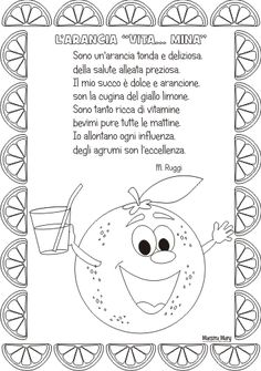 filastrocca arancia Activities For Kids, Crafts For Kids, Learning Italian, Opening Day, Coloring Pages, Fairy Tales, Diagram, Education, Fictional Characters