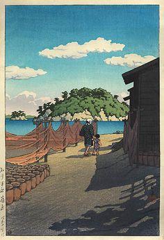 Chita Peninsula, Shino Island by Kawase Hasui, 1955 (published by Watanabe Shozaburo) Japanese Drawings, Japanese Prints, Art Occidental, Japanese Woodcut, Japan Painting, Art Asiatique, Japanese Landscape, China Art, Art Graphique