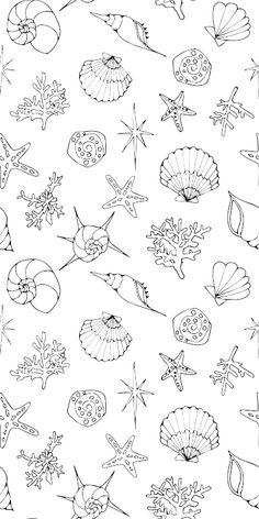 ヒトデや貝殻をモチーフにしたぬりえ♬爽やかな色合いで涼しげなインテリア壁紙にもできちゃう♡