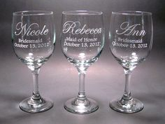 Personalized Bridal Party Wine Glasses - SET OF 6, via Etsy.
