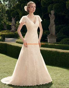 Casablanca Romantische Süße Traumhafte Brautkleider aus Softnetz mit Applikation