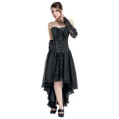 Burleskan musta Mollflander-korsettimekko    - kukkapitsiä  - 11-osaiset muoviset korsettiluut  - nyörit  - vuori 100% puuvillaa  - sivuvetoketju  - pituus edestä 80 cm, takaa 109 cm    Burleskan Mofflander-maksimekko on seksikäs! Musta mekko on oikeastaan korsetin ja mekon yhdistelmä ja näyttää tosi tyylikkäältä. Pitsi viimeistelee mekon upeasti.