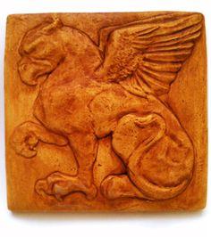 Gryphon / Griffin / Griffon Ceramic Tile Bas Relief Sculpture with Chocolate Underglaze