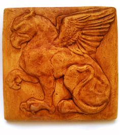 Gryphon / Griffin / Griffon Ceramic Tile Bas Relief Sculpture with Chocolate Underglaze