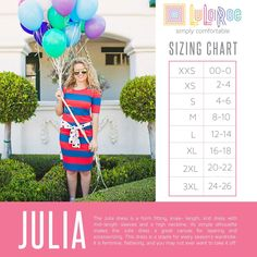 The LuLaRoe Julia is a more form fitting, knee-length, knit dress with mid-length sleeves and a high neckline. Its simple silhouette makes the Julia dress a great canvas for layering and accessorizing. The sleeve lengths are perfect! Fits true to size or order up a size if you don't like to show off your womanly curves!