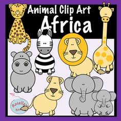 This set of clip art animals has everything you need to create fun African safari-themed resources. Included with your purchase are 8 African animals - in color and b