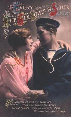 """Every Nice Girl Loves A Sailor"" Vintage Postcard, 1918"