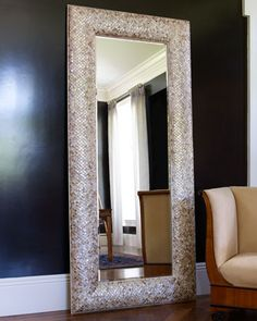 Mother-of-Pearl Floor Mirror by INTERLUDE at Neiman Marcus.