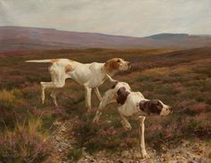 English Pointers in a Landscape | From a unique collection of paintings at https://www.1stdibs.com/art/paintings/paintings/