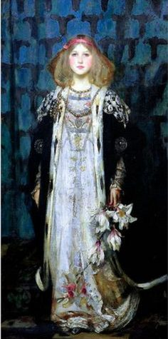 ▴ Artistic Accessories ▴ clothes, jewelry, hats in art - James Jebusa Shannon (1862 – 1923, American) - Magnolia