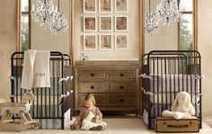 Gorgeous double cribs with crystal chandeliers!