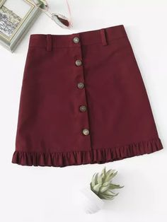 Shop Frill Hem Single Breasted Skirt at ROMWE, discover more fashion styles online. Kpop Fashion Outfits, Girl Fashion, Fashion Dresses, Casual Outfits, Dresses Kids Girl, Cute Dresses, Cute Outfits For Kids, Skirt Outfits, Mini Skirts