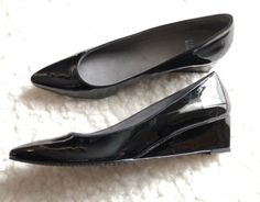 Stuart Weitzman Women's Wedge Pumps Patent Leather Block Heel Sz 9.5 Black