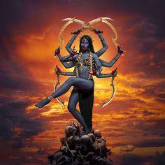 Indian Goddess Kali, Goddess Art, Durga Goddess, Indian Gods, Shiva Art, Shiva Shakti, Kali Shiva, Maa Kali Images, Kali Mata