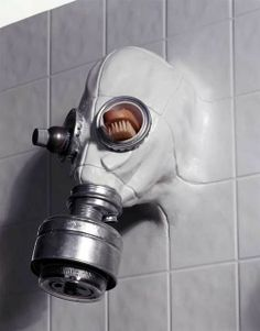 Gas-mask shower faucet head and holder installation. An idea for all those post-apocalyptic #cybergoths!