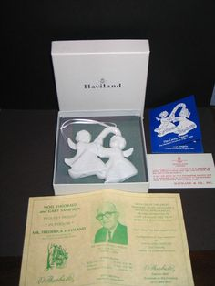 "Vintage 1986 Artist Signed ""Frederick Haviland""and Dated by a Haviland Limoges France Christmas Ornament Fine Porcelain ""The Candy Angels"". Starting at $3"