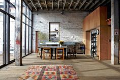 ikea cowhide rug Kitchen Industrial with columns distressed exposed beams