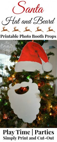 Printable Christmas Santa Hat and Beard Photo Booth Cut Out Prop