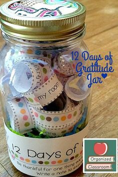 12 Days of Gratitude Jar!   A fun and easy project that allows students to practice gratitude in the classroom any time of the year! You will love how they express themselves too!  Stop at Organized Classroom now to grab your freebie and make your jar! Charity  3-5 Fall fall activities free Thanksgiving FREE Thanksgiving printables PK-2 Thanksgiving Thanksgiving activities Thanksgiving crafts