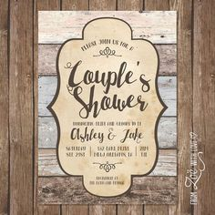 rustic couples shower invitation printable by