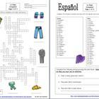Spanish Clothing Crossword, Vocabulary IDs & Sentences - 47  vocabulary words, 9 clip art images and 3 sentences!