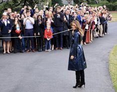 Milania Trump Style, Navy Wool Coat, Trump Is My President, First Lady Melania Trump, Championship Game, Leather Trench Coat, Black Knees, Black Suede Boots, All Black Outfit