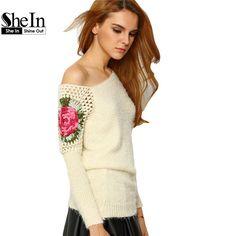 Shein mujeres de Floral ganchillo bordado asimétrico suéteres que hacen punto resorte 2016 de albaricoque cuello redondo suéter de punto flojo