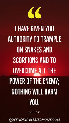 I have given you authority to trample on snakes and scorpions and to overcome all the power of the enemy; nothing will harm you. Scripture Verses, Bible Verses Quotes, Bible Scriptures, Faith Quotes, Prayer Quotes, Spiritual Quotes, Prayer Verses, Christian Quotes, Christian Life