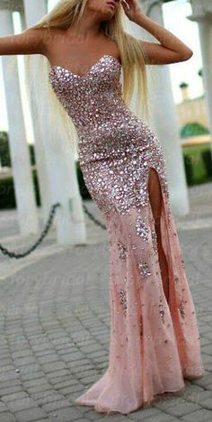 Pink prom dress, long prom dress, mermaid prom dress