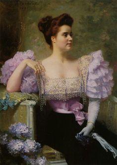 Jeune Femme en Tenue de Soirée Assise près d'un Bouquet D'hortensias ~ Jules Louis Machard ~ (1839 - 1900)