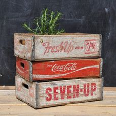 Vintage Wooden Drinks Crate - Coca Cola & 7 UP drinks crate Coca Cola, Vintage Crates, Shipping Crates, Cool Inventions, Pink Lemonade, Cool Gadgets, Interior Styling, Decorative Boxes, Table Decorations