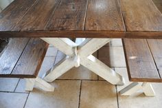 PIne Rustic X Frame  Dining table and Matching by DoveandGrey