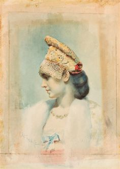 Leon Bakst Samoilovich, Portrait of a Girl Wearing a Pearl Choker and Kokoshnik