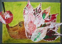 hedgehog with leaf prints