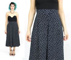 046eca7624d 80s Polka Dot Culottes Vintage Wide Leg Culottes Cropped Trousers Navy High  Waist Pants Preppy Nautical Capris Loose Pleated Skirt (XS S M)