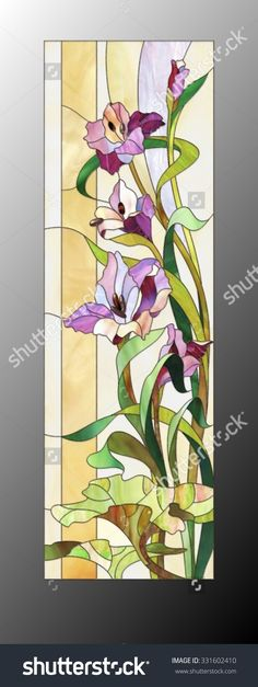 Illustration about Stained glass window with purple floral pattern. Illustration of glass, decorative, multicolored - 73189047 Glass Painting Patterns, Stained Glass Patterns Free, Glass Painting Designs, Stained Glass Quilt, Stained Glass Flowers, Stained Glass Crafts, Faux Stained Glass, Stained Glass Designs, Stained Glass Panels