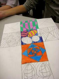 Op Art Cubes made by Fourth Grade.