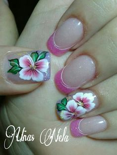 Flower Nail Designs, Beautiful Nail Designs, Beautiful Nail Art, Cool Nail Designs, Diy Nails, Cute Nails, One Stroke Nails, Finger Nail Art, Flower Nails