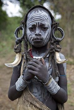 Africa | Mursi child photographed by deepchi1 on Flickr. Omo Valley, Ethiopia.