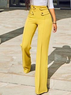 Shop Stylish Buttoned High Waist Wide Leg Pants – Discover sexy women fashion at Boutiquefeel Trend Fashion, Fashion Pants, Fashion Outfits, Womens Fashion, Cheap Fashion, Latest Fashion, Slacks For Women, Clothes For Women, Work Clothes