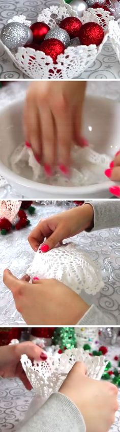 DIY Doily Baskets | Click Pic for 20 DIY Christmas Decorations for Home Cheap | DIY Christmas Decorations Dollar Store