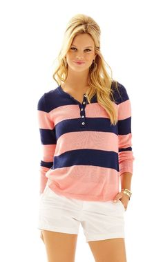Adair Striped Pullover Sweater - Lilly Pulitzer Cheeky Melon Dunes Stripe